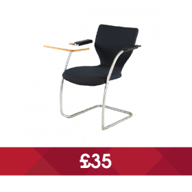 Black Cantilever Chair with Writing Tablet